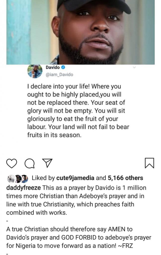 """ Davido's Prayers Is One Million Times Christian Than Pastor Adeboye's "" - DaddyFreeze"