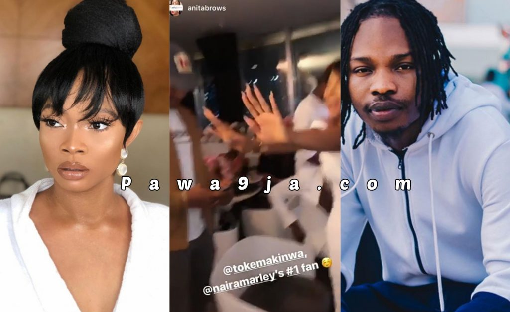 Toke Makinwa Screams in excitement as Naira Marley shows up at her birthday dinner party (Video)