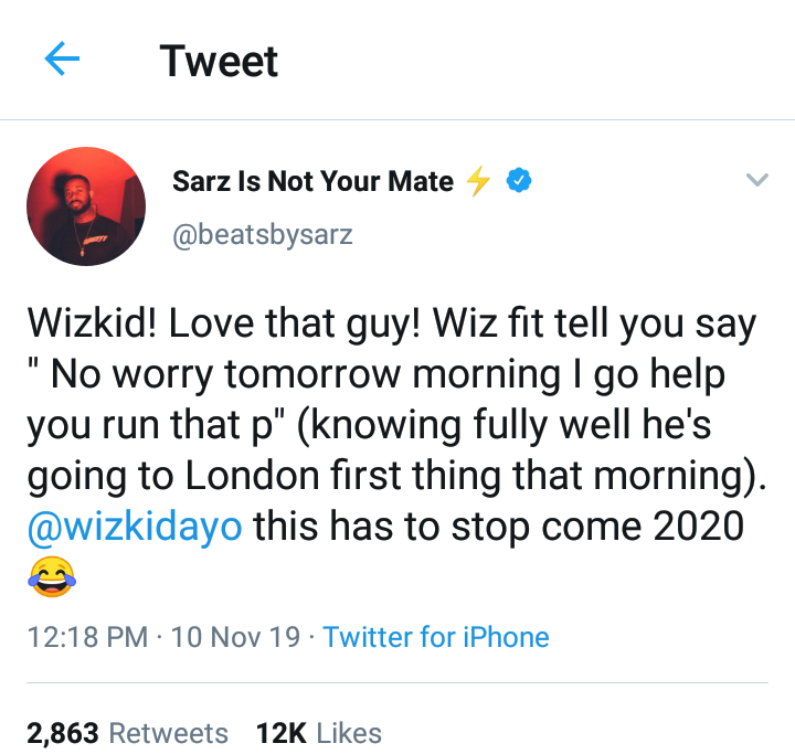 """ Wizkid is a liar "" - Producer Sarz Says, Wizkid Replies"