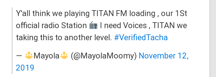 Titans To Launch An Official Radio Station For Tacha Called ' Titan Fm '