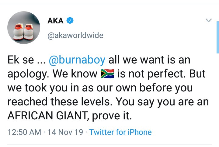 SA rapper AKA demands apology from Burnaboy as he set to perform in South Africa
