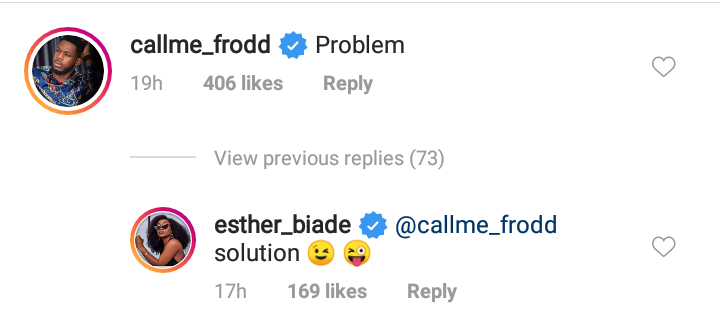Frodd and Esther engages in a romantic trauma on instagram