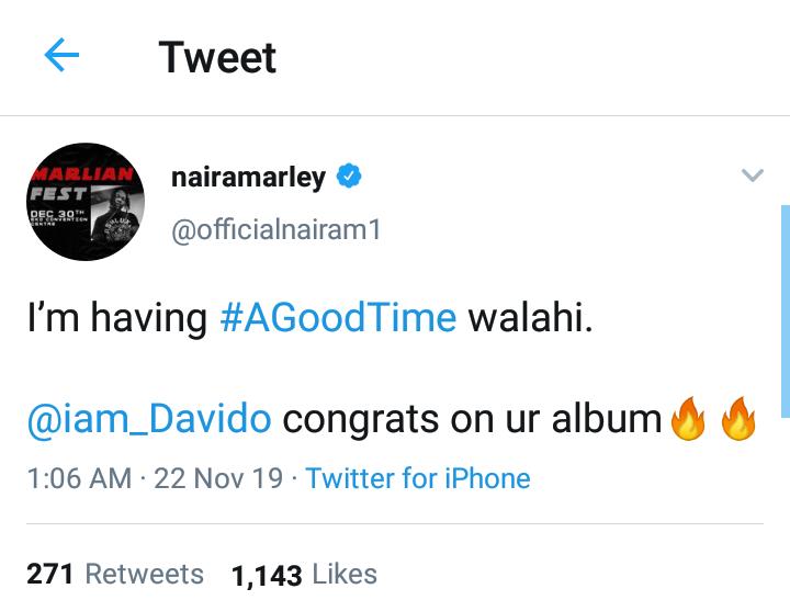 """"""" am having a  good time already """" Naira Marley says as he congratulates Davido On His Album"""