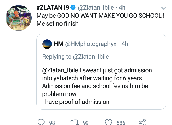 """"""" Maybe God doesn't want you to go to school """" – Zlatan Ibile Tells A Fan Begging For School Fees"""