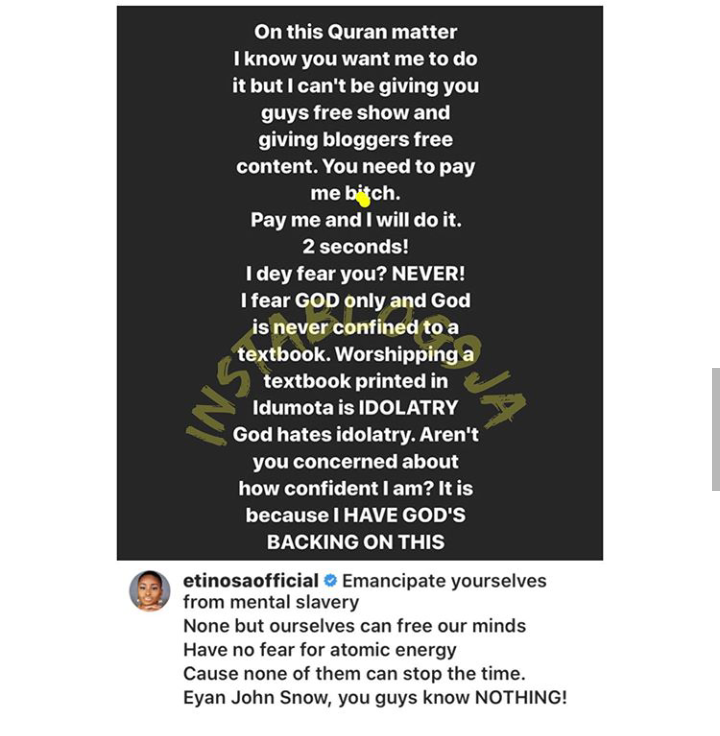 Actress Etinosa Asks For Money From Muslim Man Who Dared Her To Mess Up Quran