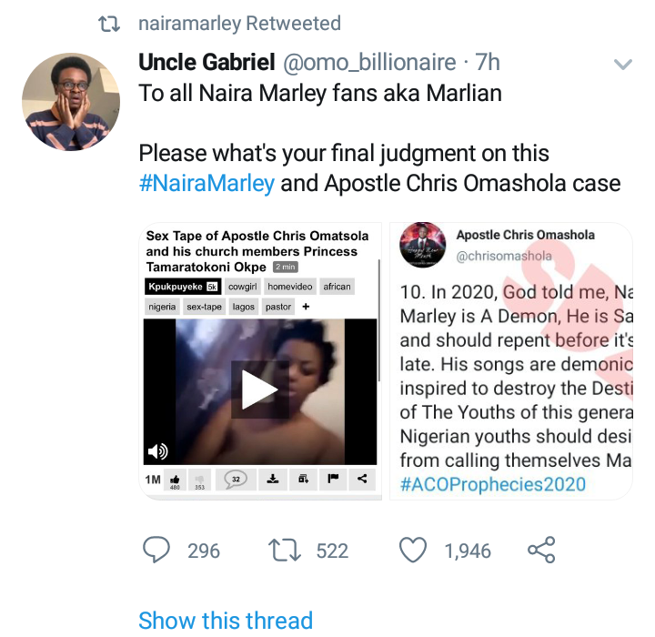 Naira Marley Reacts To Apostle Chris Omoshola's Claim That God Told Him That Naira Marley Is A Demon