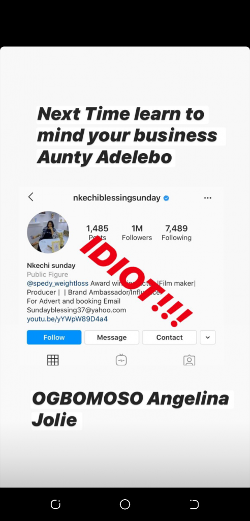 Actress Nkechi Blessing And Dotman Engages In Bitterly Troll over Humility Advice
