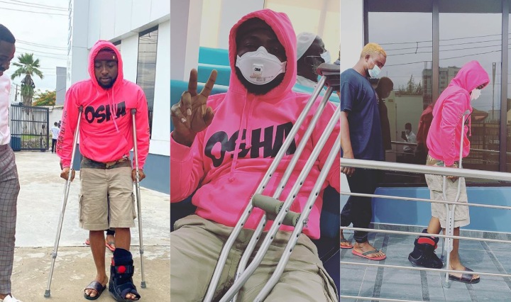 Singer Davido enters new month with a fractured leg, see what happened