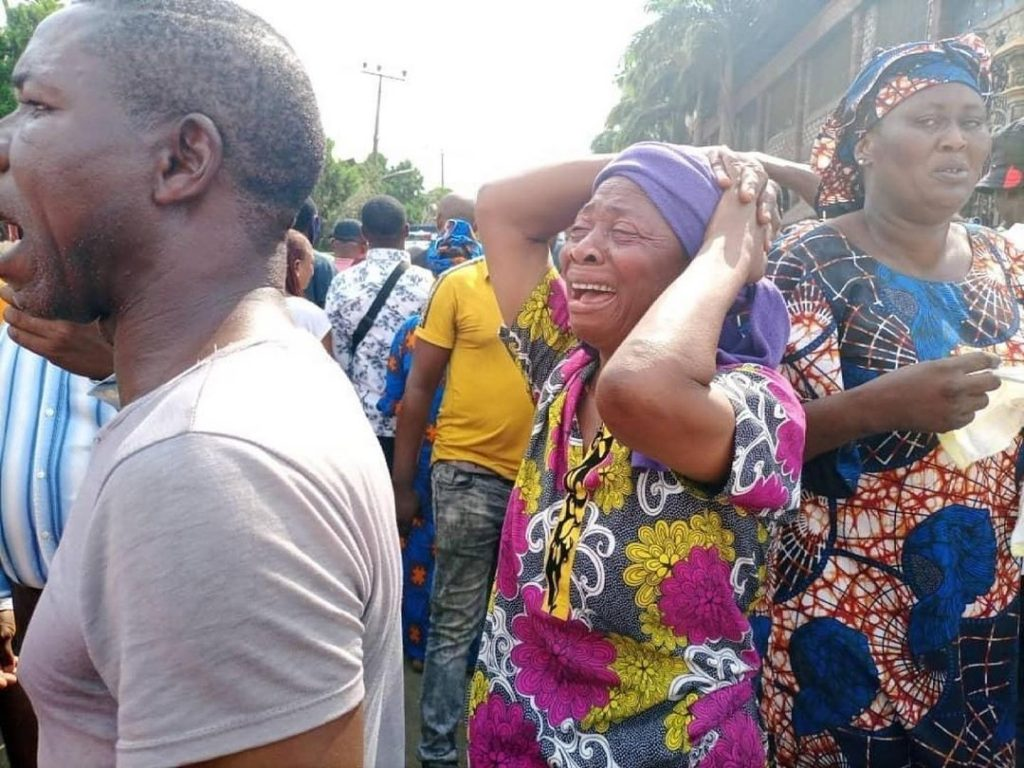 Heartbroken Members of Prophet T B Joshua's Synagogue mourn his death at the church premises  (Photos)