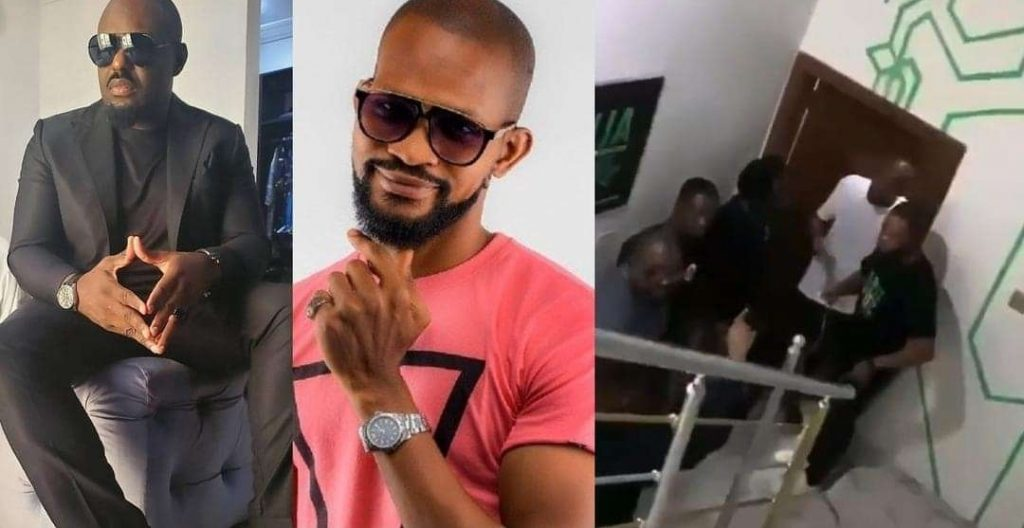 """Moment Nollywood actor, Jim Iyke physically """"confronted"""" actor, Uche Maduagwu for calling him a """"ritualist"""" (WATCH)"""